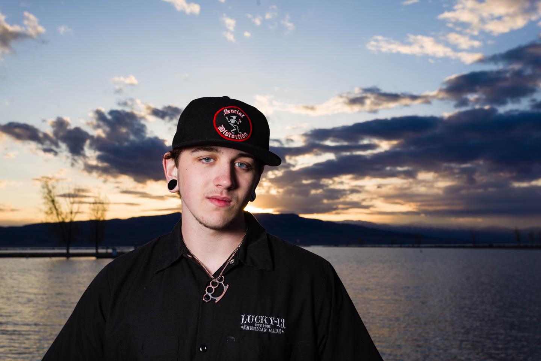 Alex's senior portraits by Utah Lake during sunset