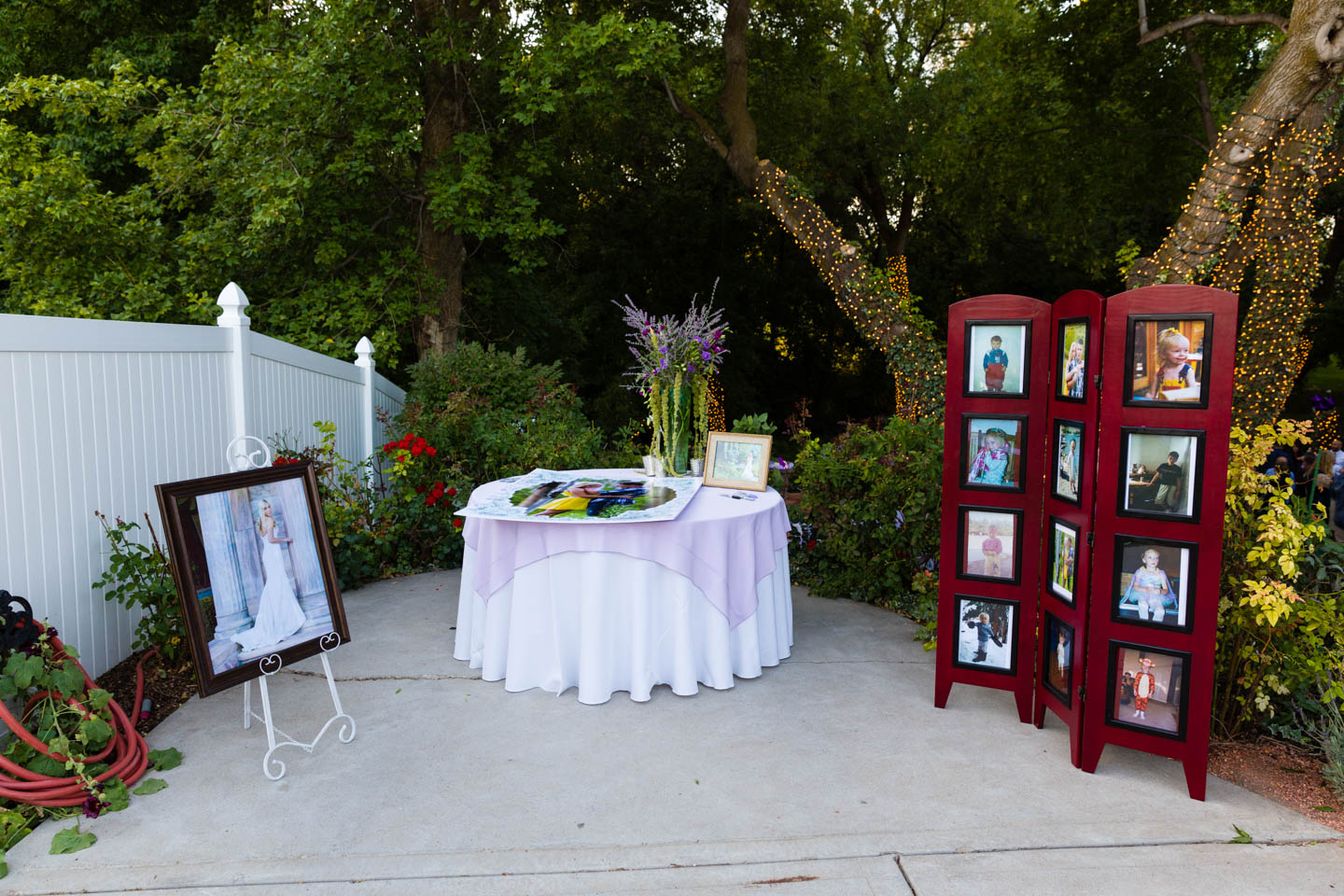 The signing area decorated with photos of the new couple