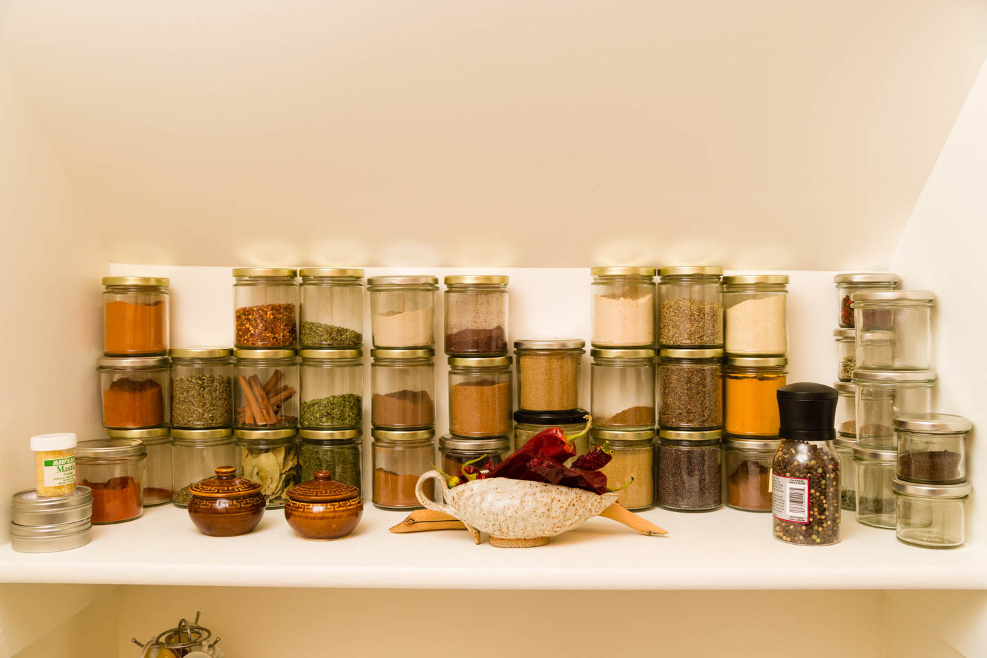Spice rack at the home kitchen
