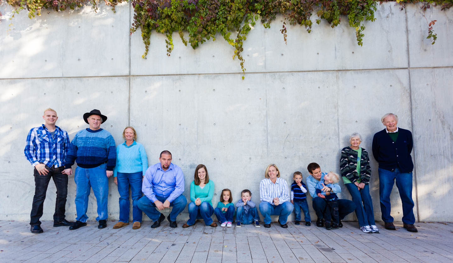 Cement wall with some ivy is perfect for family portraits