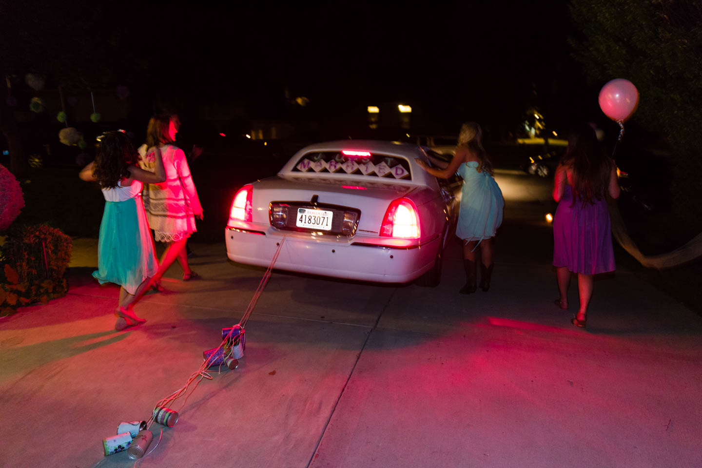Wedding tradition of pulling tin cans behind the limo