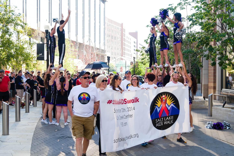 Salt Lake AIDS walk with banner walk by Cheer Salt Lake