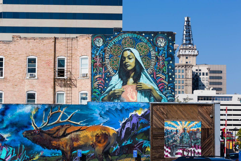 Downtown Salt Lake City decorated with graffiti