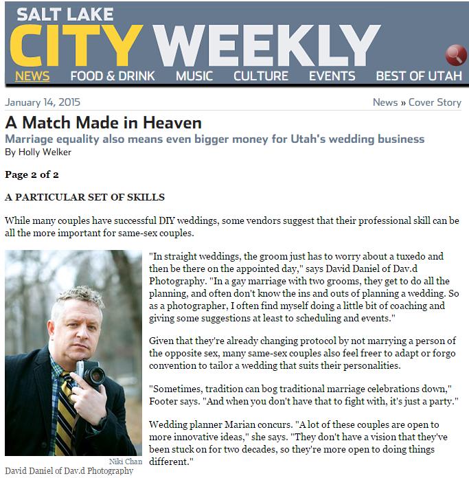 David Daniels in the Salt Lake City Weekly magazine
