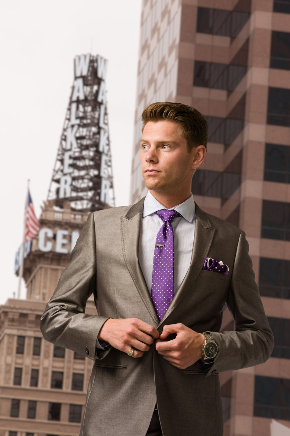 Hunter's Fashion Shoot in Studio and Added to a City Scape