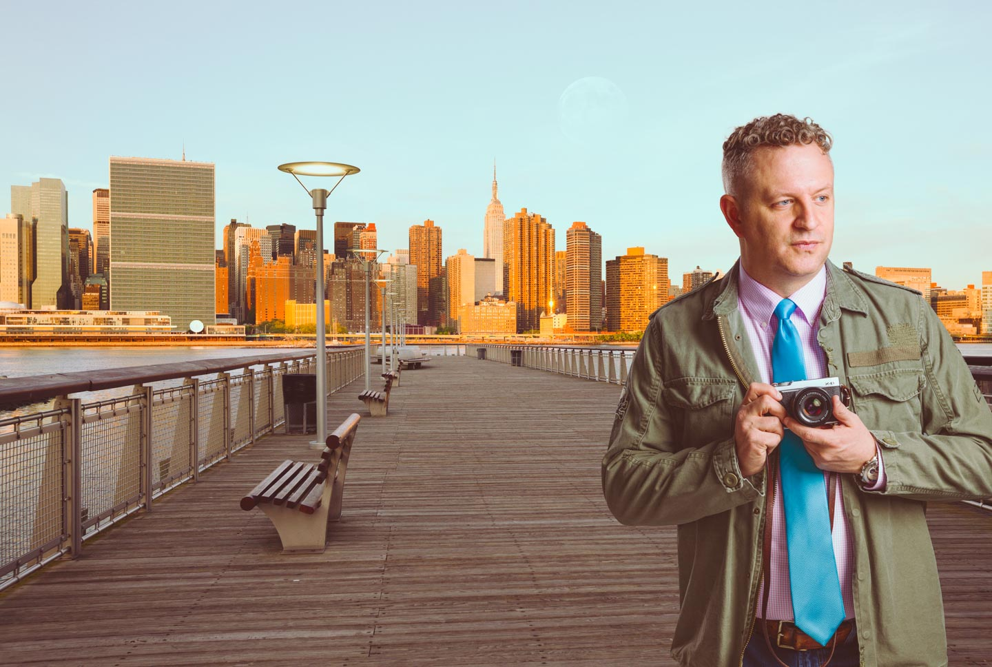 dav.d in New York thanks to Photoshop and stock photography