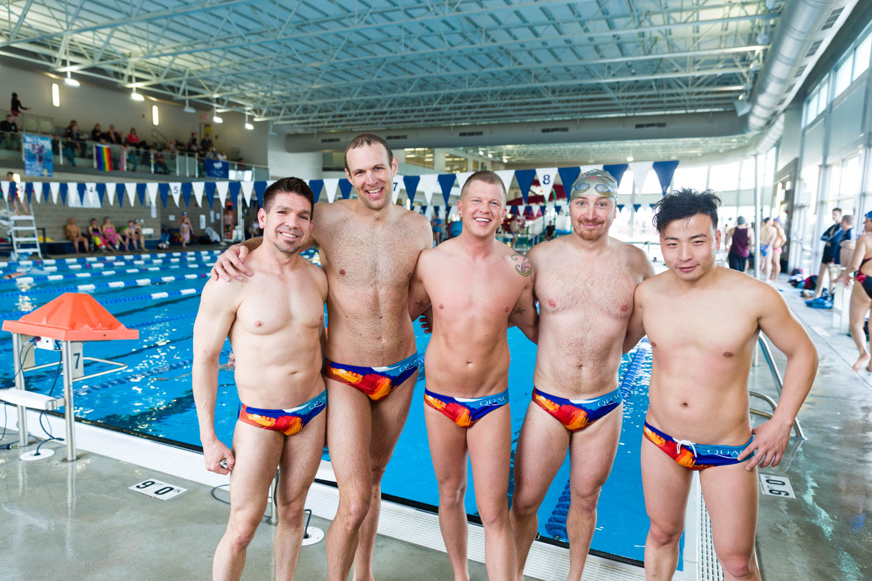 The men show of QUAC's newest swimsuit for men