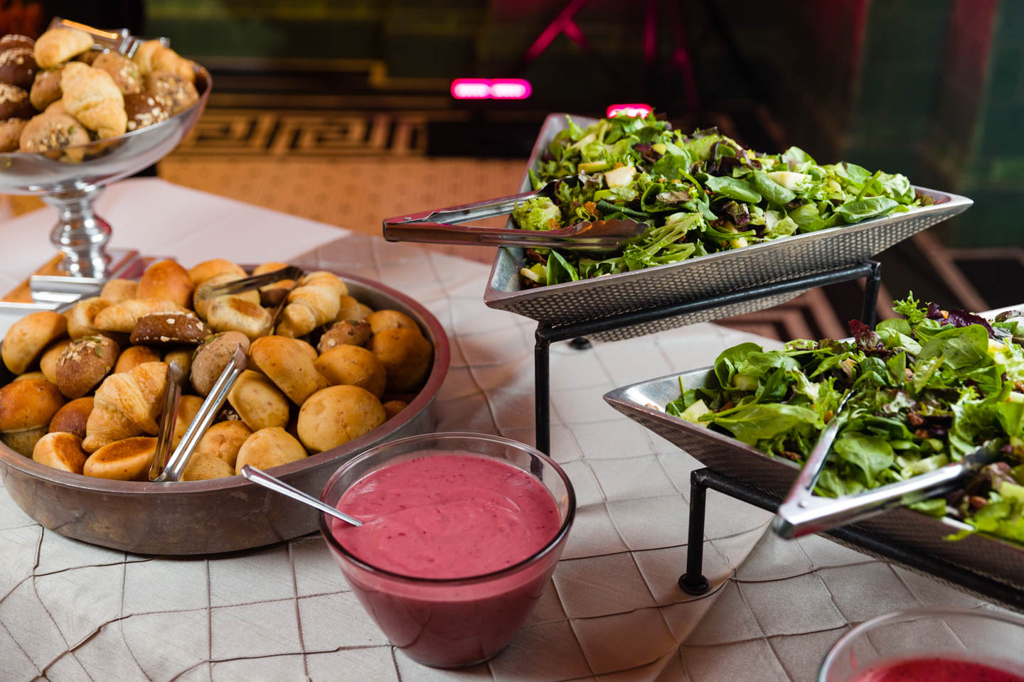 Buffet of salad and rolls