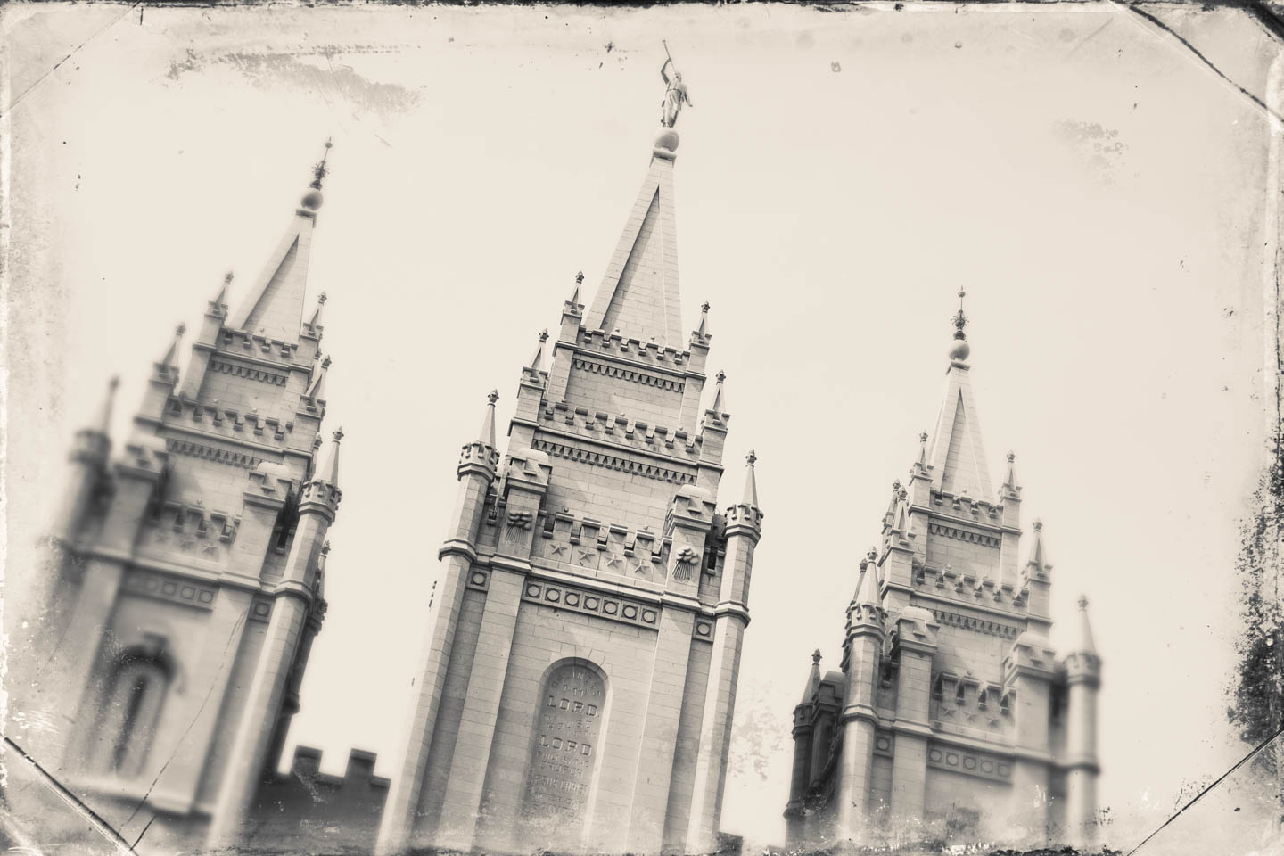 Using software to make a wet plate of the Salt Lake Temple
