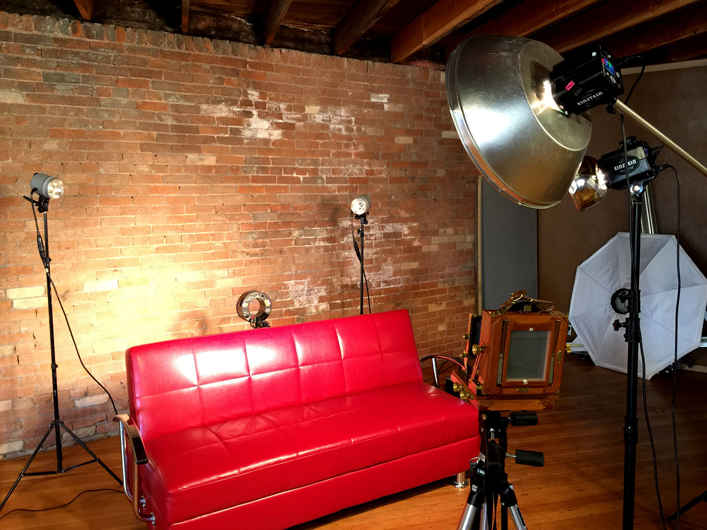 Studio lights and the background for the wet plate photo shoot