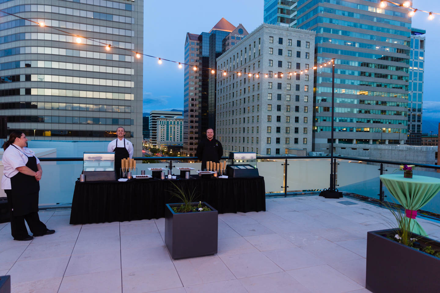 Caterers ready for the rooftop party