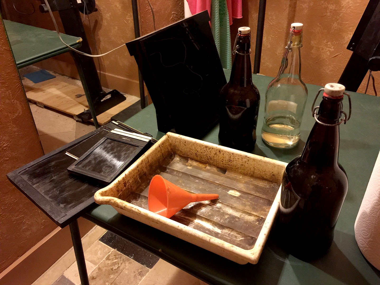 Chemicals ready for wet plate photography