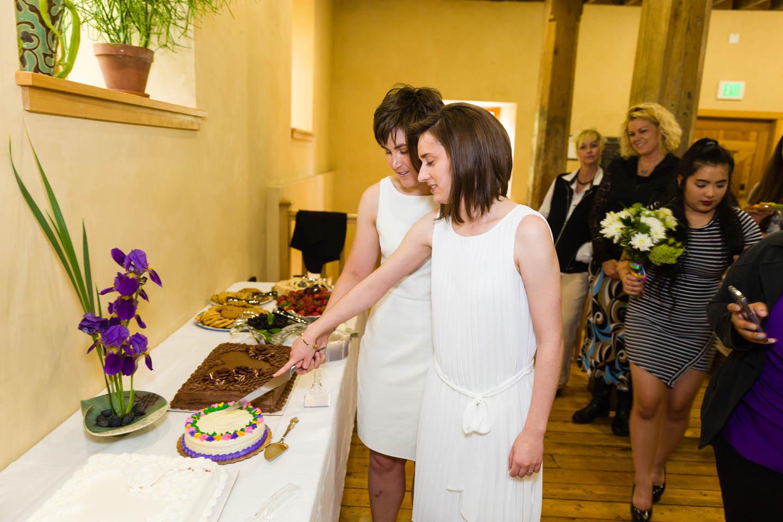Cutting the wedding cake. The cake was vegan.