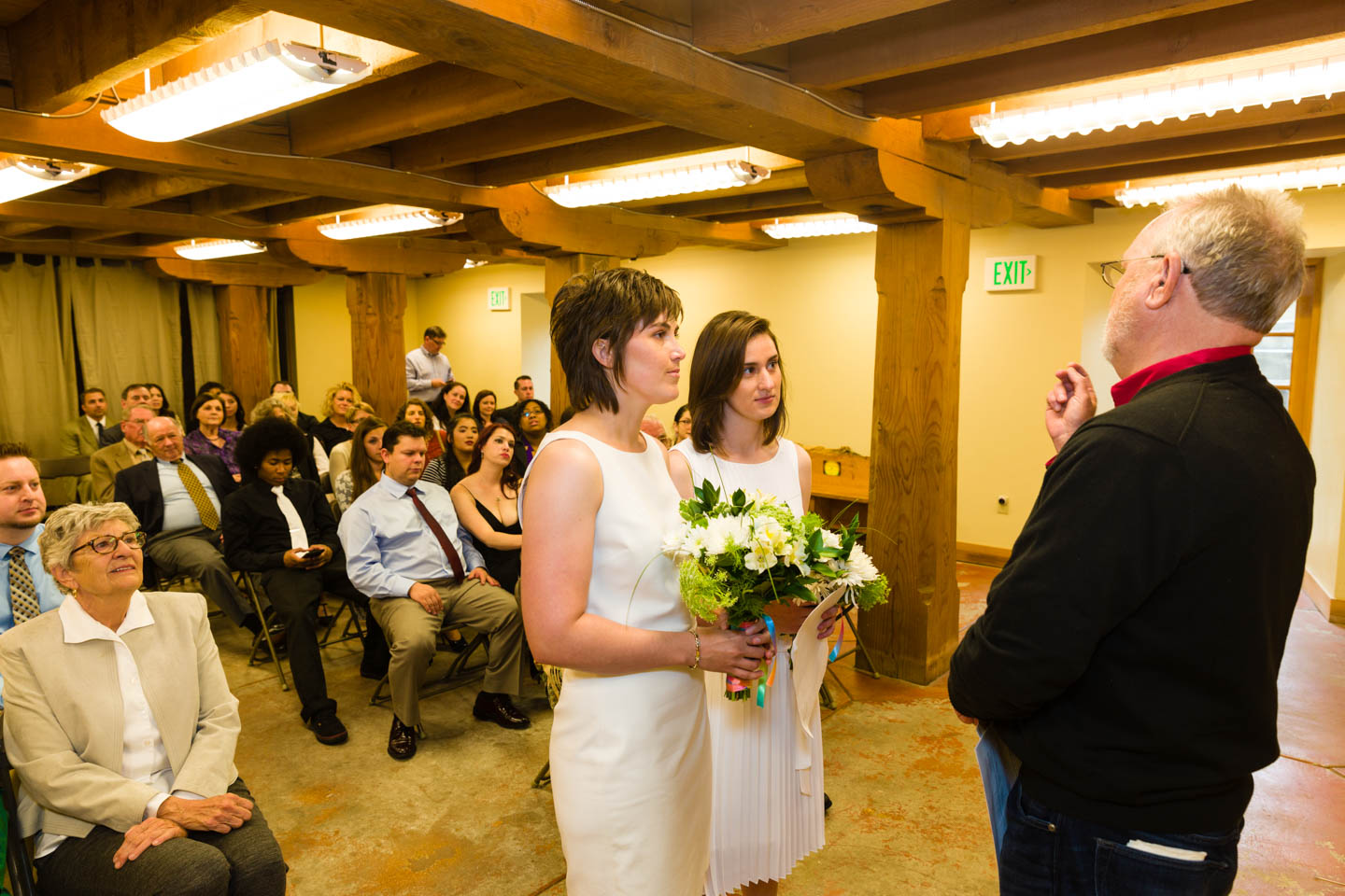 Wedding Ceremony in the Basement of the Chase Mill at the Tracy Aviary