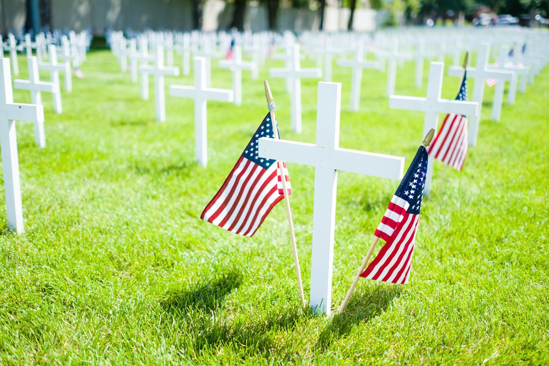 American Flags mark memorials