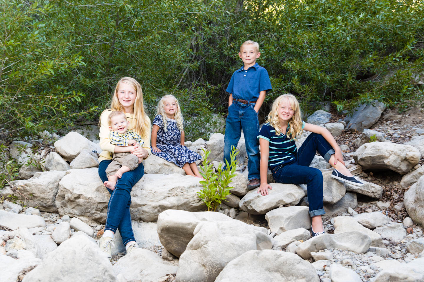 Group photo of the kids in a dried riverbed