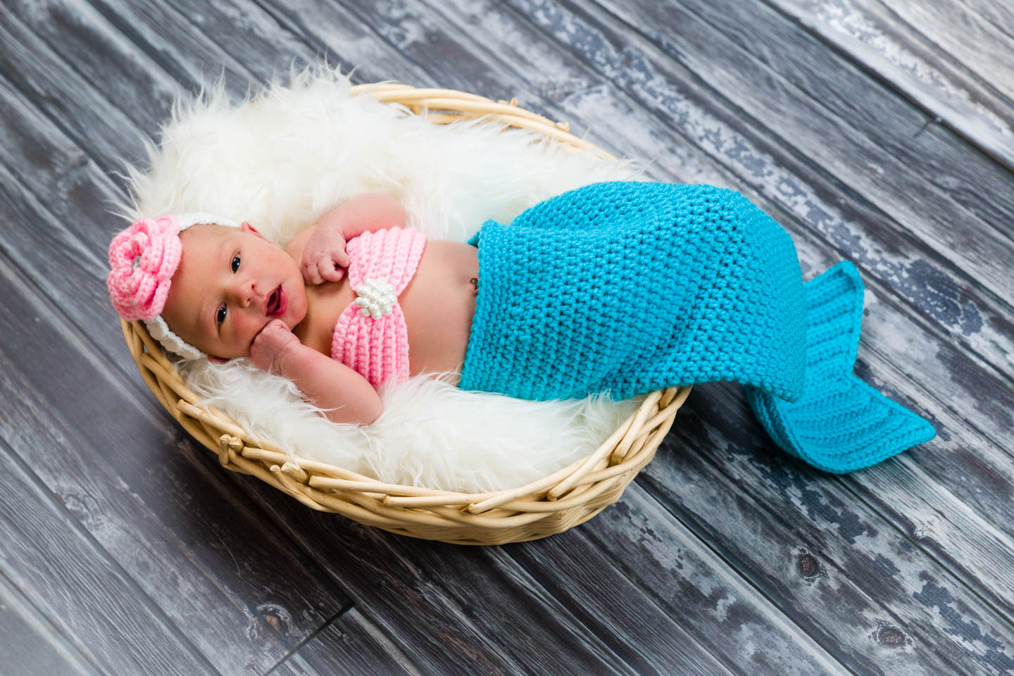 Harper had a knitted mermaid outfit