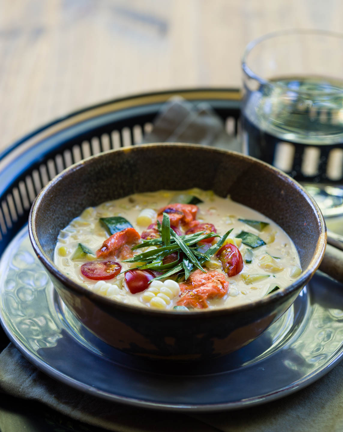 Salmon soup and food photography