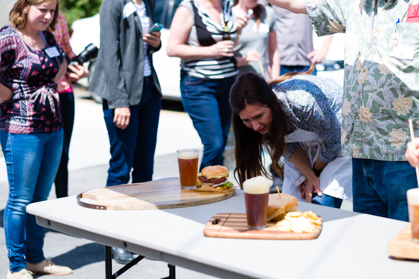 Suzy Eaton judges food styling of hamburgers and beer