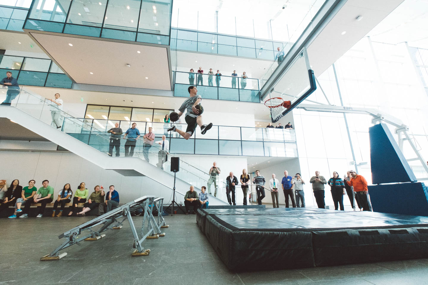 Trampolines help with the basketball aerobatics