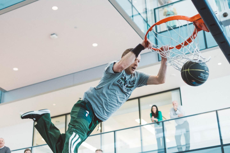 Rim rattling dunks from the Utah Jazz Dunk Team