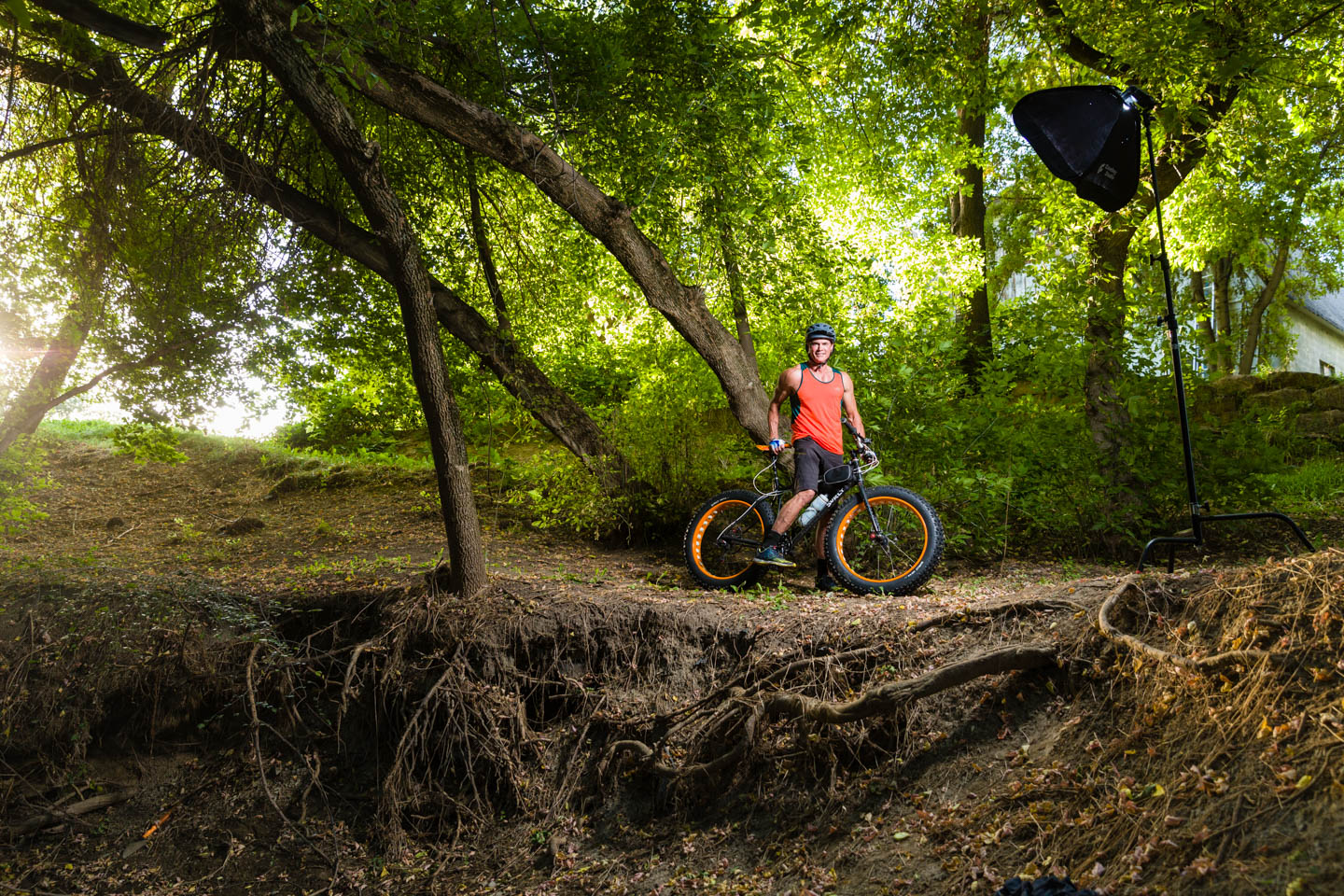 Cory shows off his fat bike and you can see my portable lighting kit