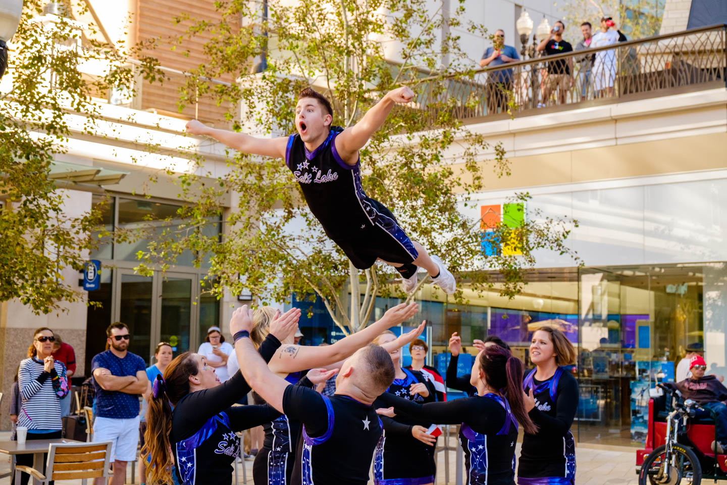 Cheer Salt Lake perform death defying feats