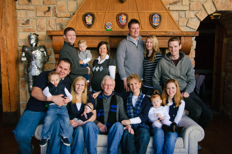 Large family portrait in Sundance Lodge