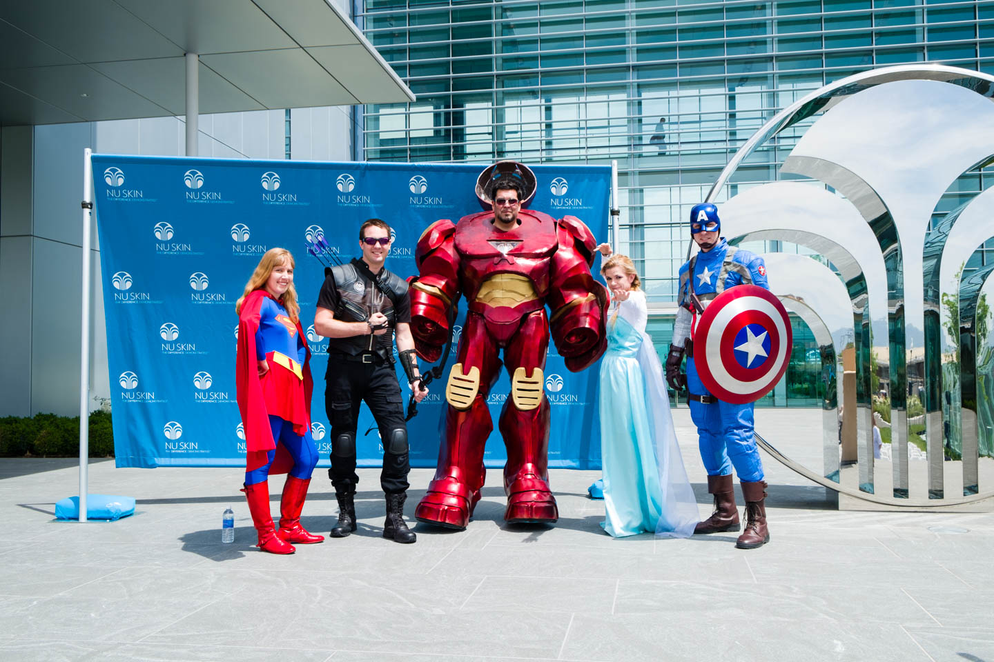 Cos Play Characters show support including supergirl, hulk buster, hawkeye, captain america and a Frozen princess
