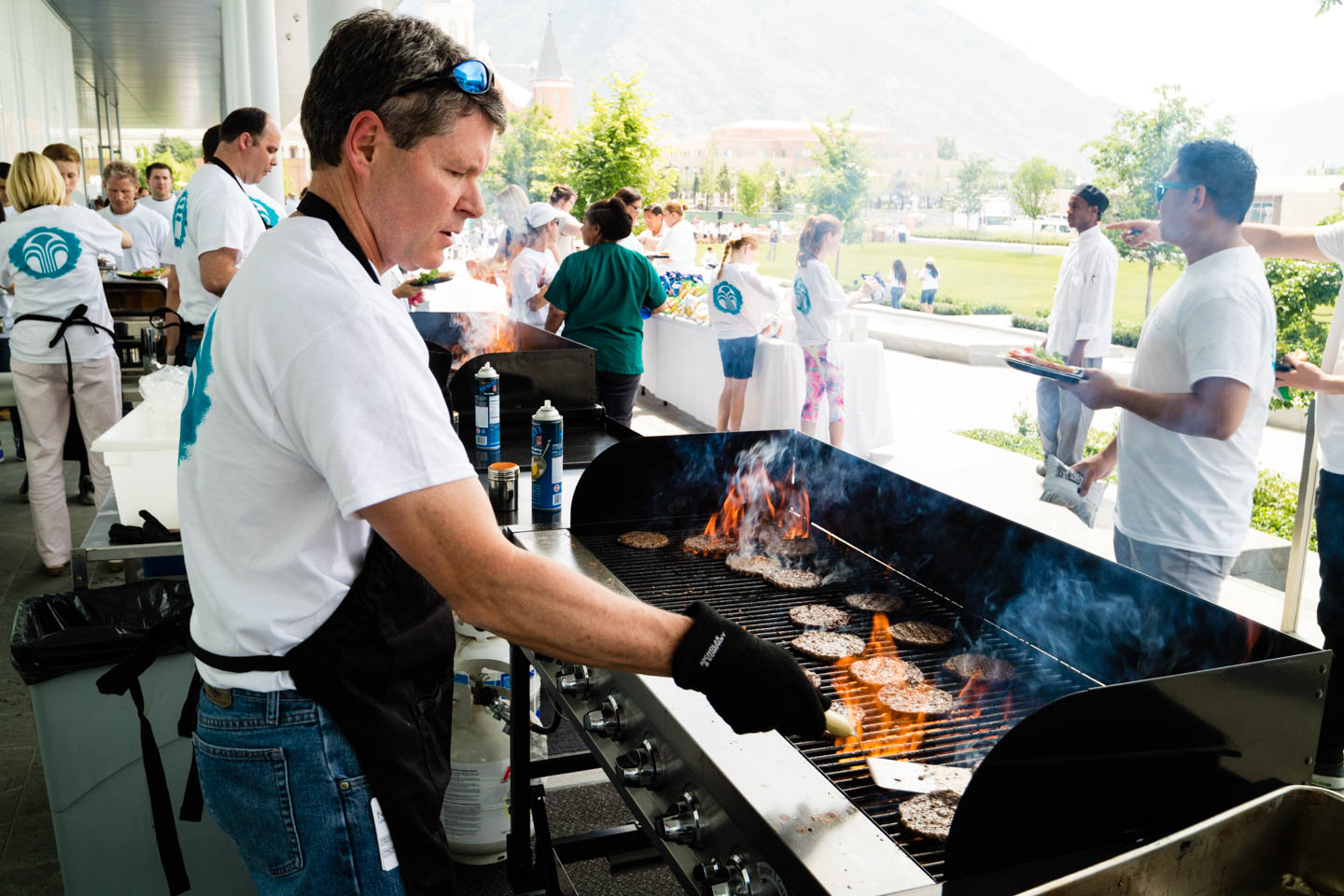 Making lunch for volunteers at the grill