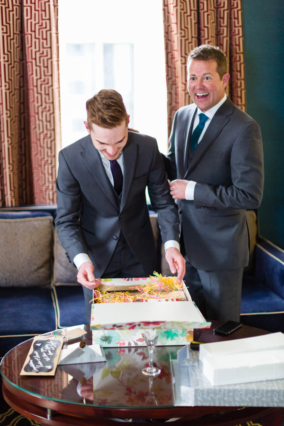 Grooms receive the wedding gift