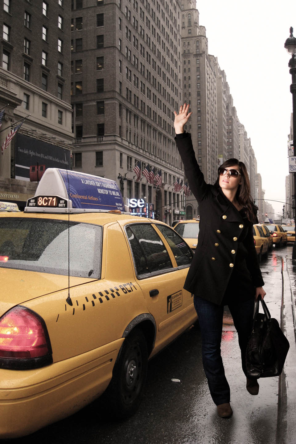 She was a fan of New York so I photoshopped her into New York and hailing a cab