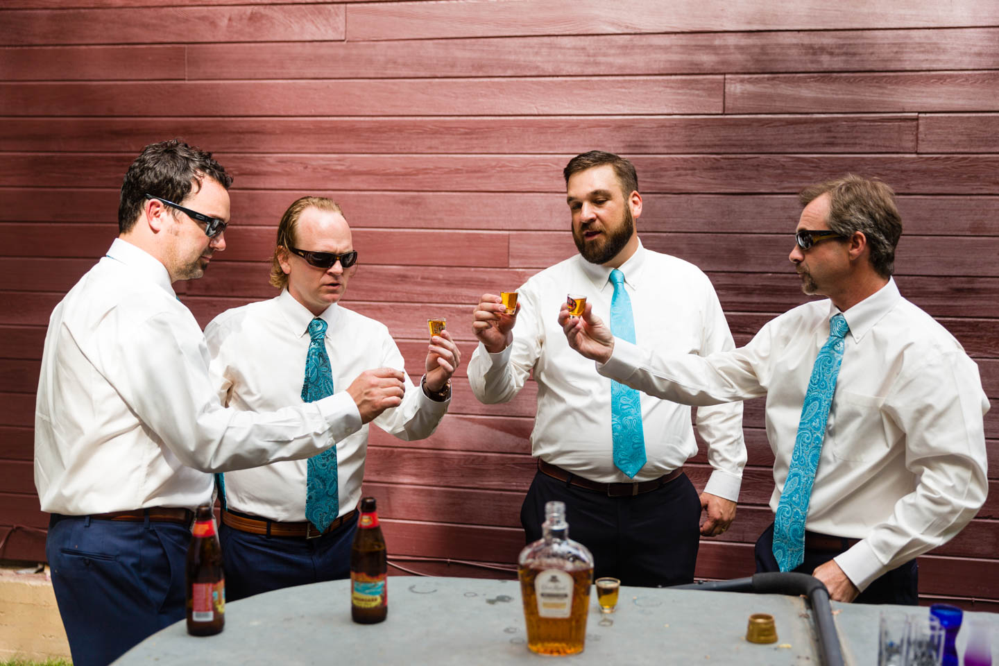 Whiskey shots before the wedding