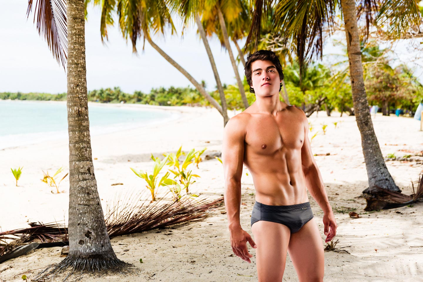 A swimsuit model added to a beach in Puerto Rico