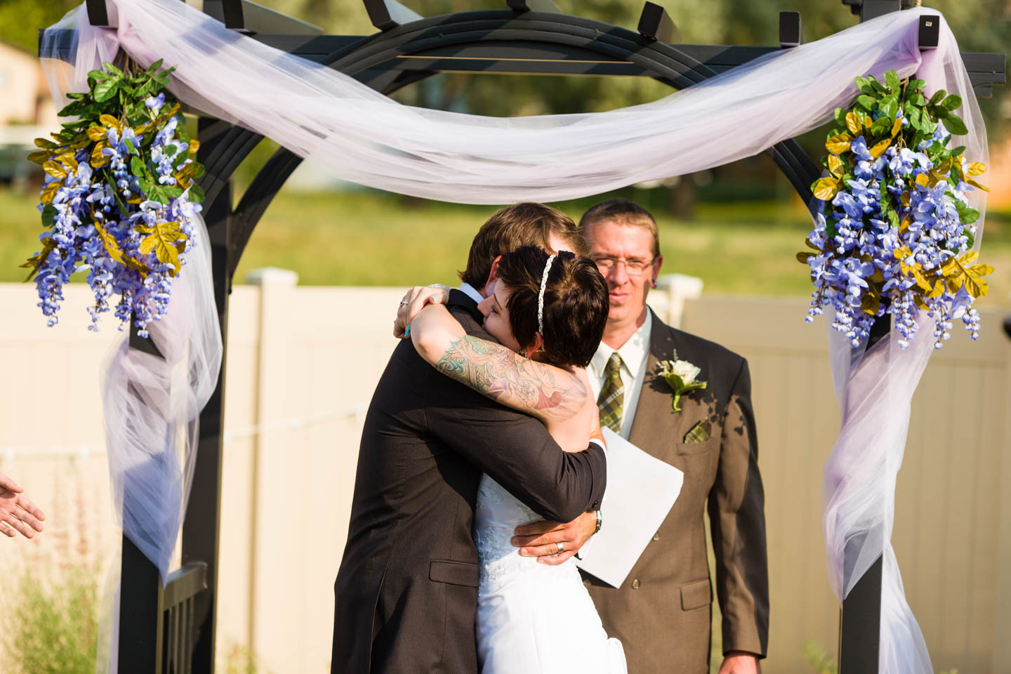 Wedding couple hug