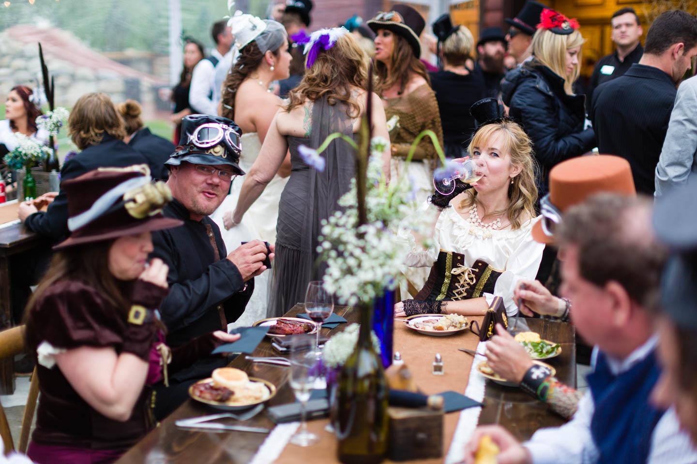 Wedding reception for a steampunk themed wedding