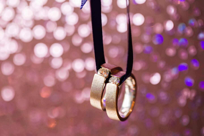 Wedding Rings On Purple