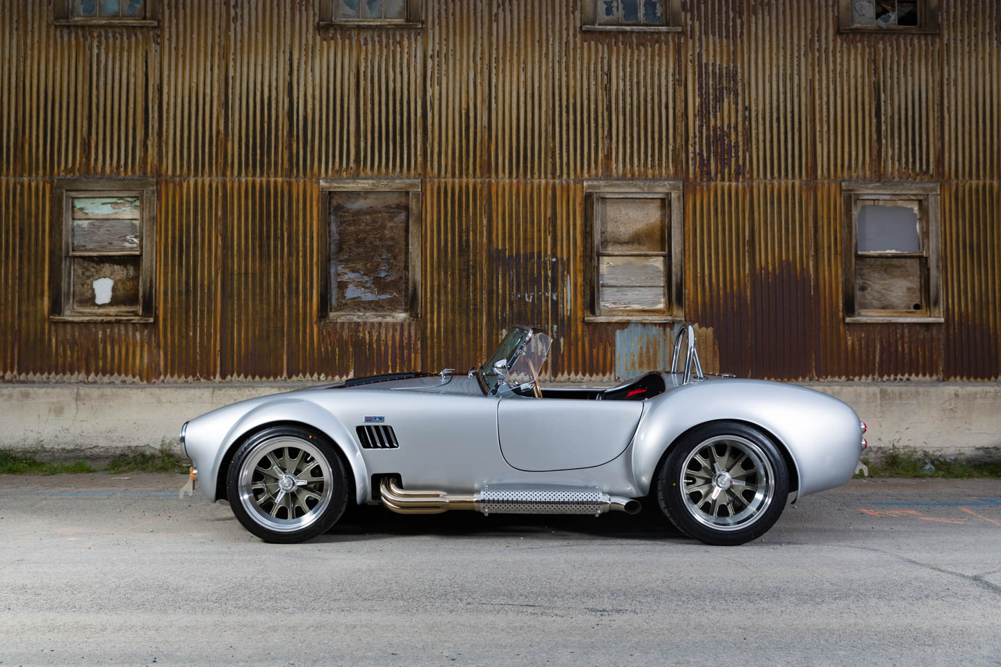 Side view of the silver Shelby Cobra