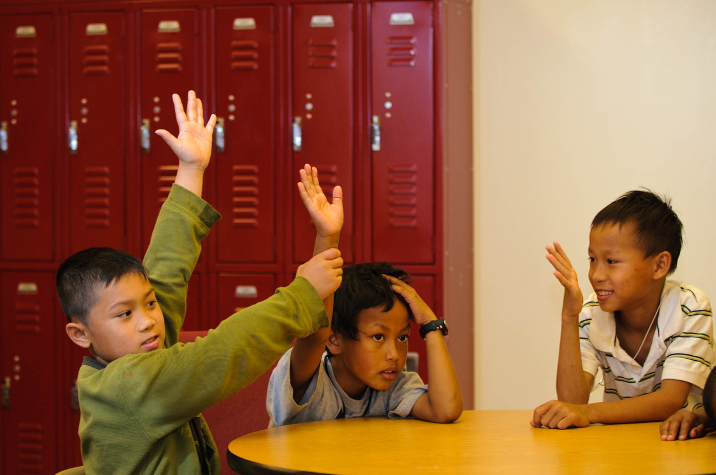 Raising their hands for learning