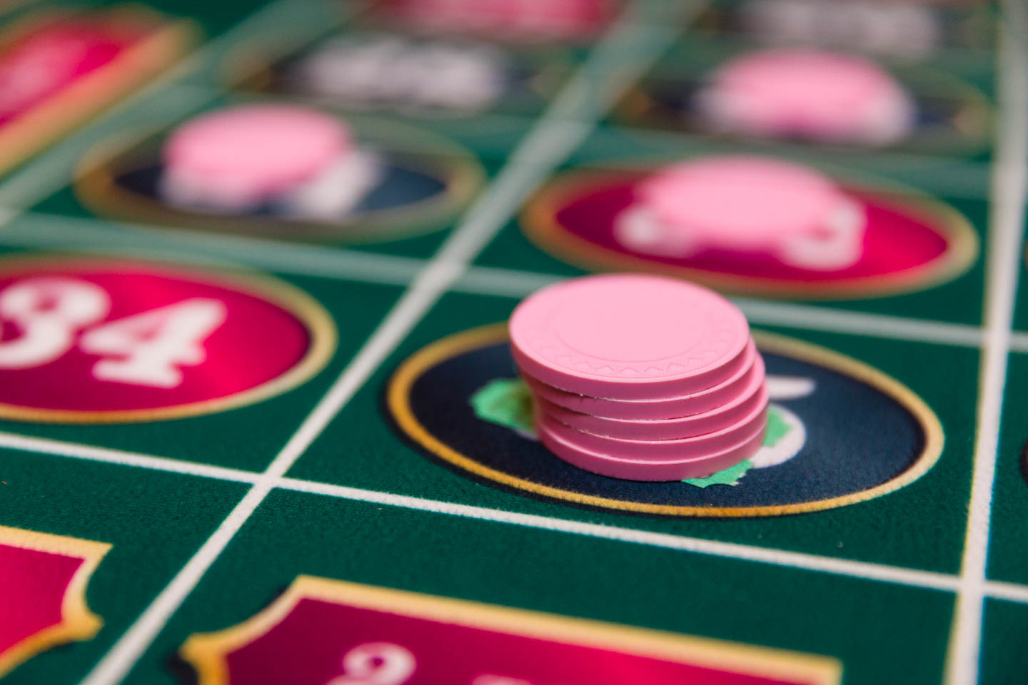 Chips on the roulette table