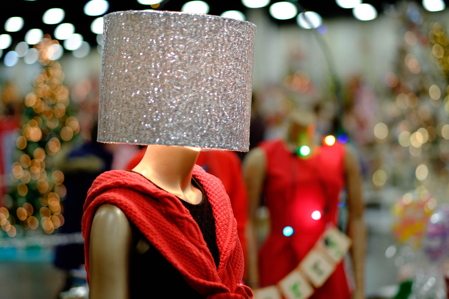 Lamp shade on the head