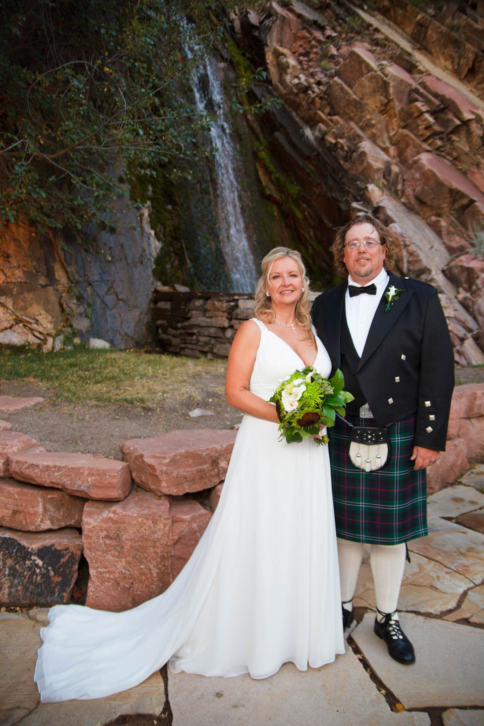 Formal Wedding portraits by the water fall