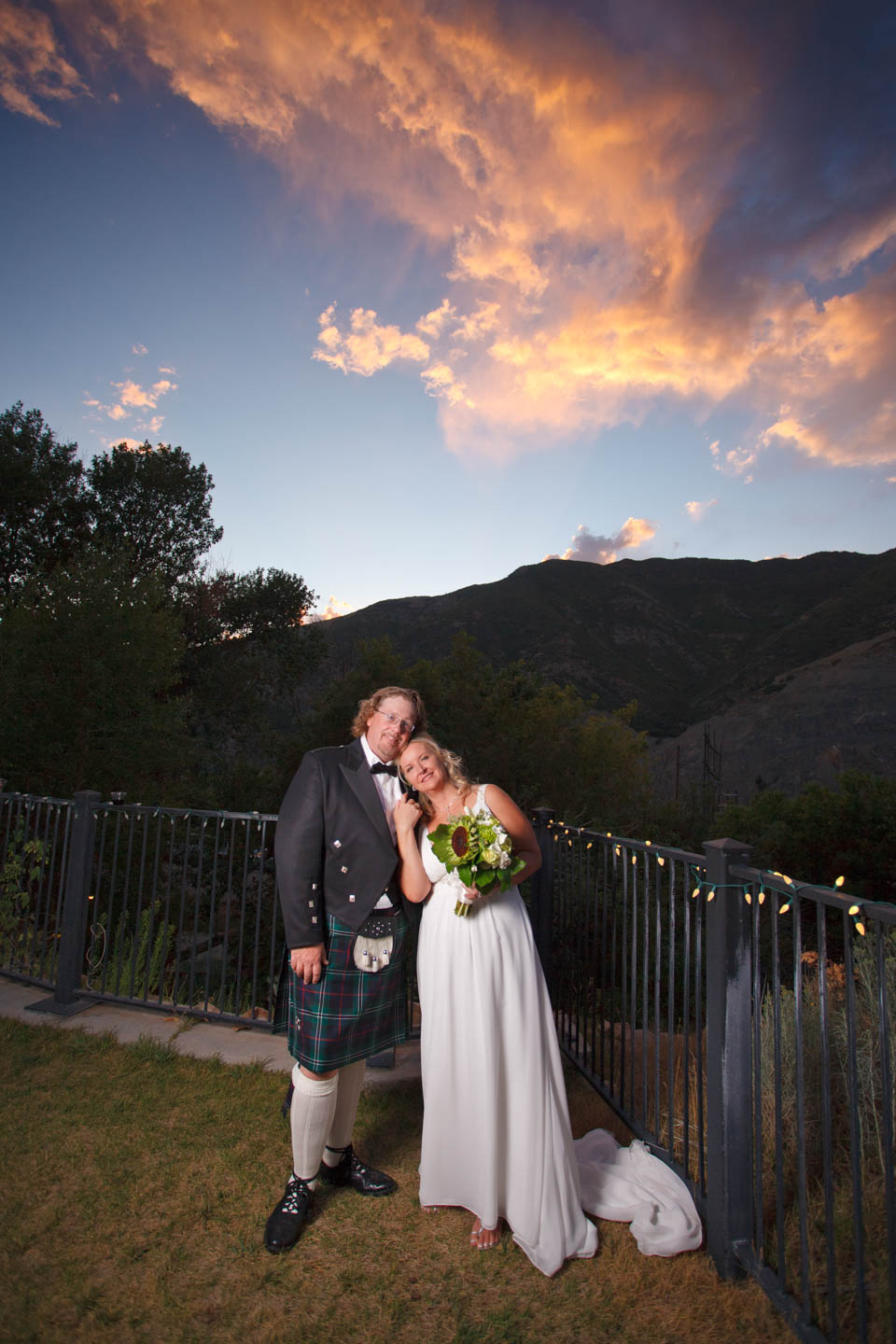 Sunset over the formal wedding portraits