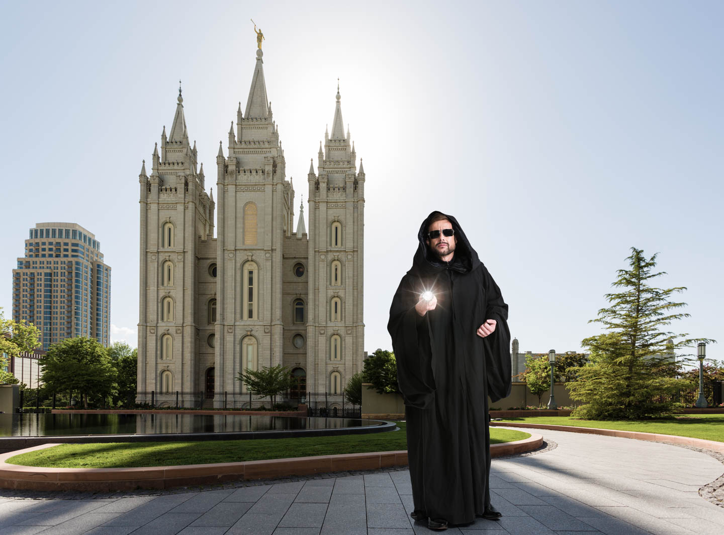 Steven walks the grounds of Temple Square
