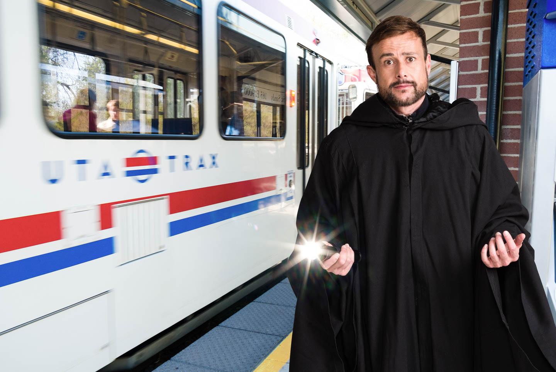 Steven takes public transport to downtown Salt Lake City