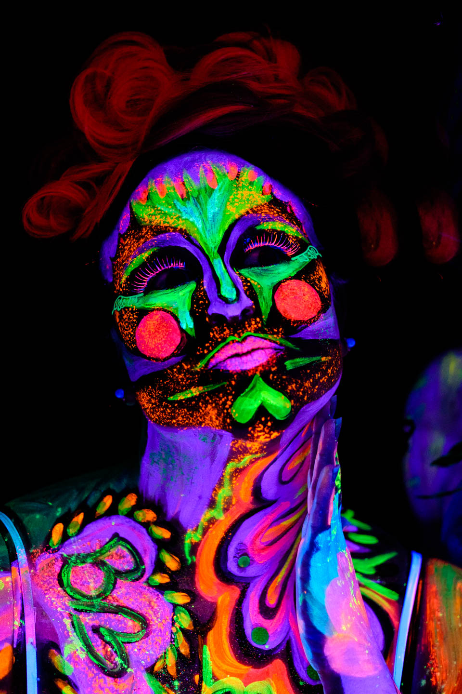 Dia de los Muertos themed blacklight paint