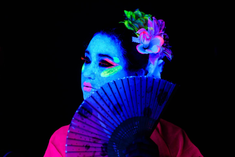 Asian themed blacklight paint