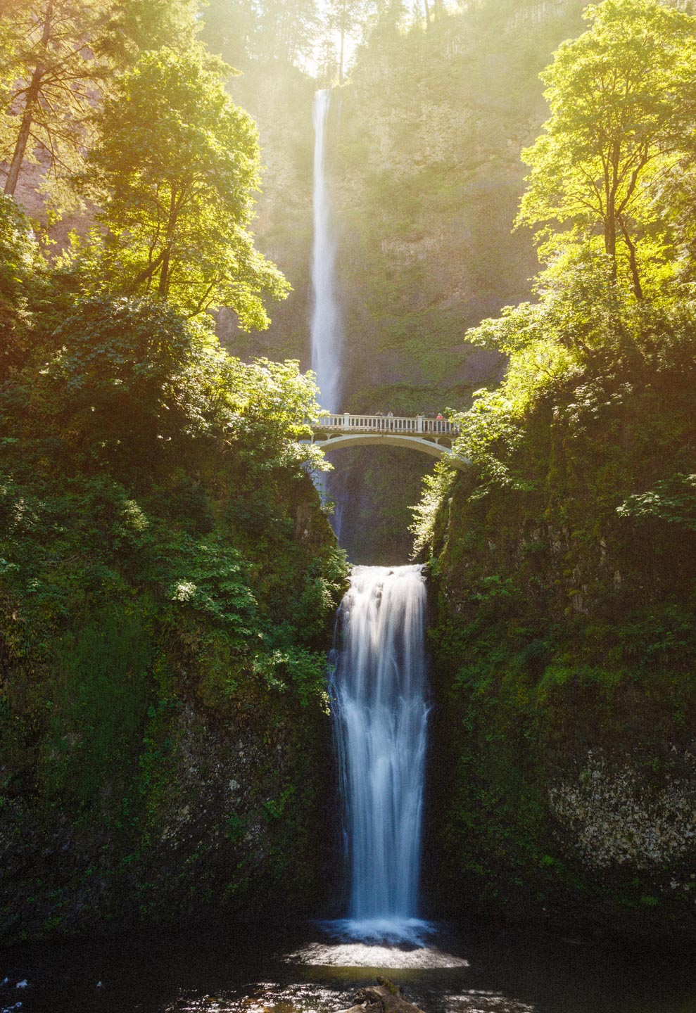 Multnomah Falls in Sunlight