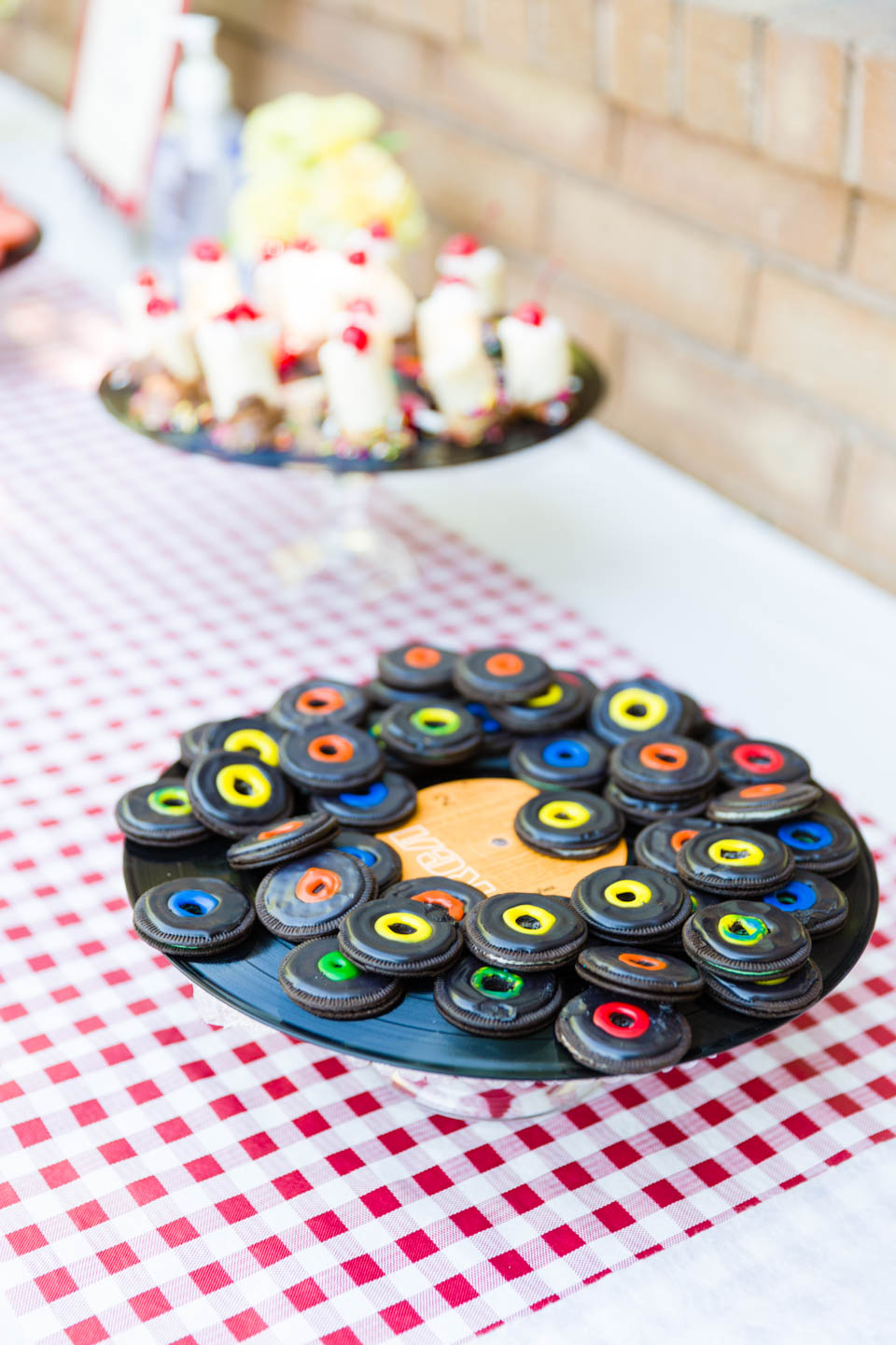 Oreos decorated as vinyl records
